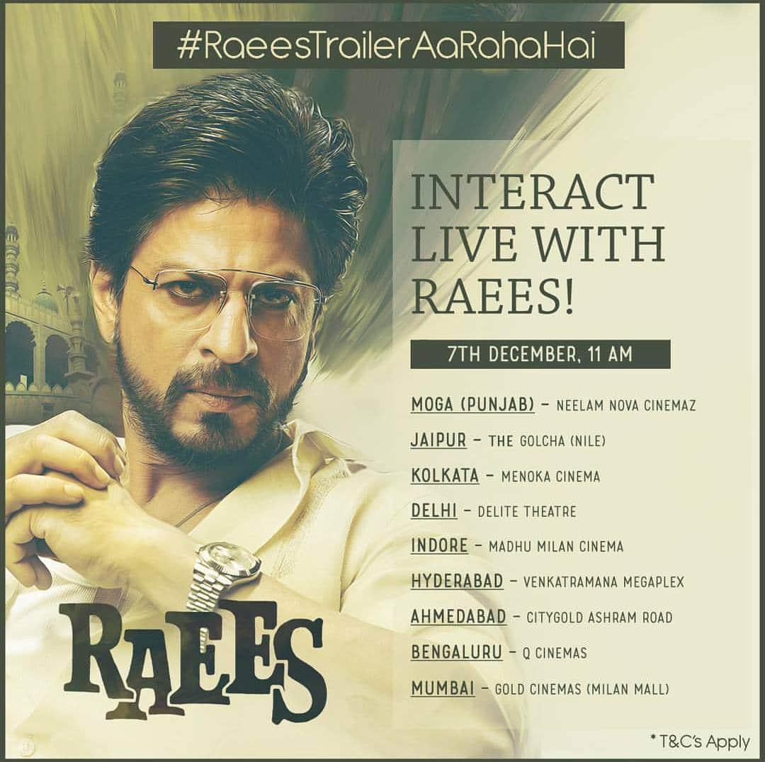 Shah Rukh Khan To Interact With Fans During Raees Trailer Launch
